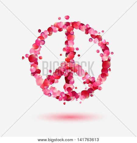 Vector peace symbol of pink petals. Pacifism sign