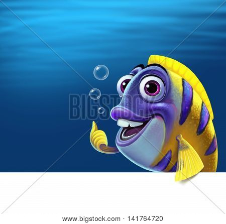 Illustration of a funny fish. Graphic illustration on the white background