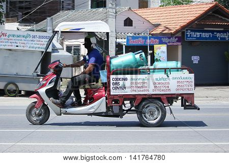 CHIANGMAI THAILAND -JULY 27 2016: Motorcycle for delivery gas lpg to home of Champ Company. On road no.1001 8 km from Chiangmai Business Area.
