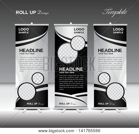 Black and white Roll Up Banner template vector illustration, roll up stand, banner design, advertisement, display, flyer design