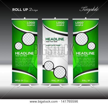Green Roll Up Banner template vector illustration, roll up stand, banner design, advertisement, display, flyer design