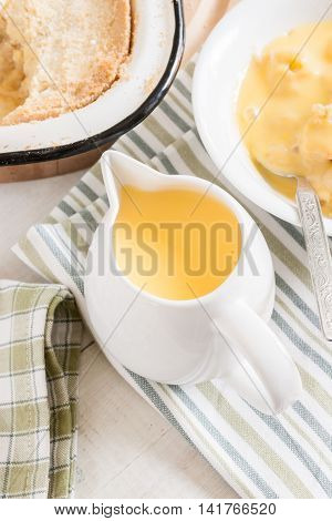 Custard a popular dessert sauce a perfect accompaniment with apple pie