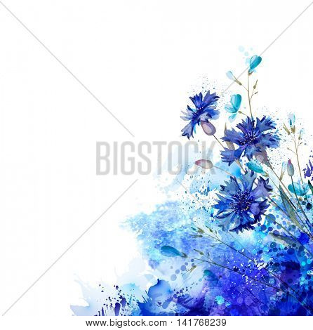 White background with blue cornflowers and buds by abstract elements. Decorative abstraction blots.
