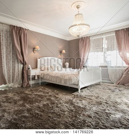 Romantic beauty bedroom interior with soft carpet
