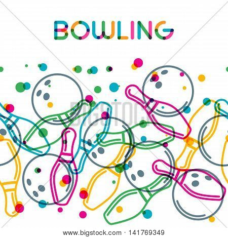 Vector Bowling Background With Color Linear Bowling Balls And Bowling Pins.
