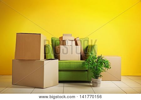 House move concept. Carton boxes in the room