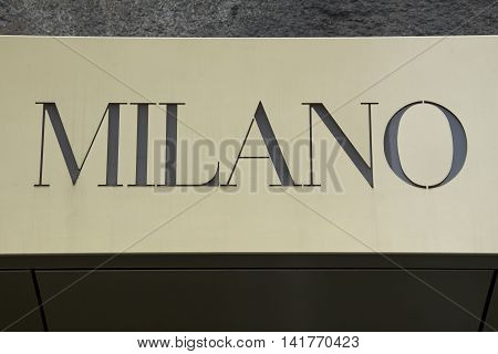 Municipal sign of the stylish Italian city Mlian in elegant lettering