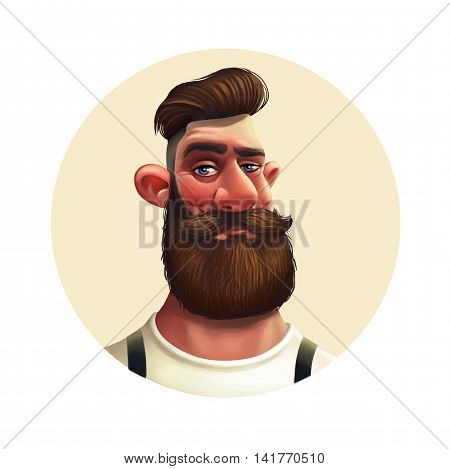 Character bearded hipster. Illustration in a round format