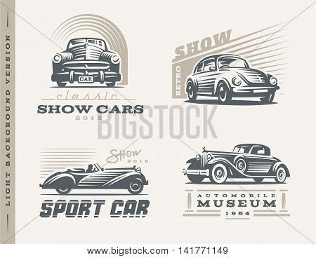 Classic cars logo illustrations on light background
