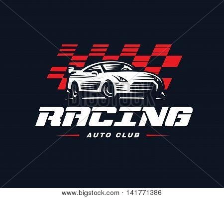 Sport car logo illustration on dark background. Drag racing