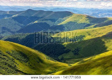 Valley Between Green Hills In Summer