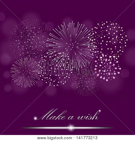 Silver Firework Show On Ambient Purple Blurred Background.