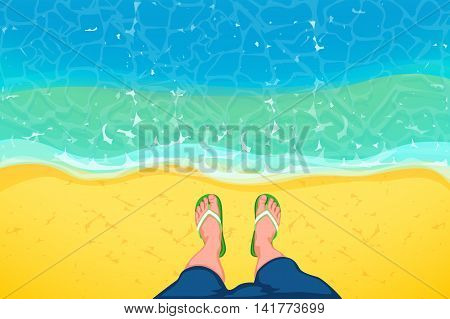 illustation of male legs standing on sand coast with blue sea view from top