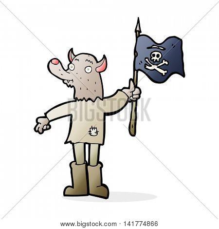 cartoon wolf man waving pirate flag