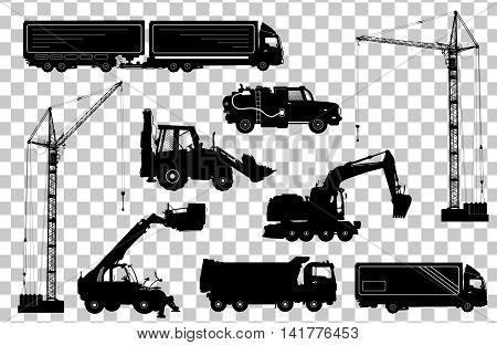 Construction Equipment: Trucks, Excavator, Bulldozer, Elevator, Cranes. Detailed Silhouettes Of Cons