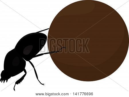 Scarab dung cartoon beetle with big brown manure ball