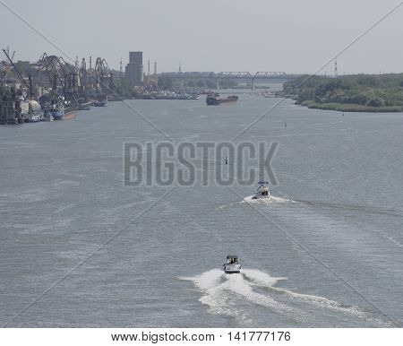 Rostov-on-Don Russia -August 062016: Boats with holidaymakers on the river Don