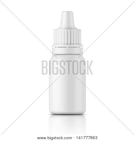 White plastic bottle template for medical or cosmetic fluid, eye drops, oil. Packaging collection. Vector illustration. EPS10.