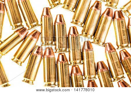 Pistol Bullets Isolated On White