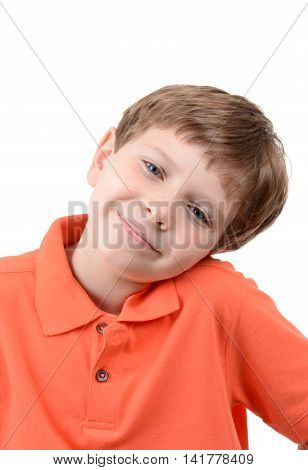 cute boy with head tilted white background
