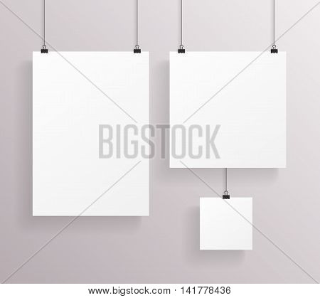 A4 Square Paper Big Little Realistic Poster Icon Template Transperent Background Mock Up Design Vector Illustration