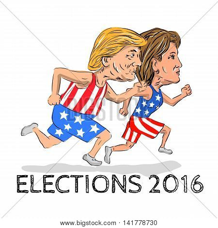 August 8, 2016: llustration showing Republican Donald Trump and Democrat Hillary Clinton run running race for president in Election 2016 done in cartoon style.