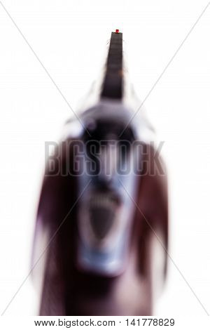 a classic vertical over-under double barreled shotgun isolated over a white background poster