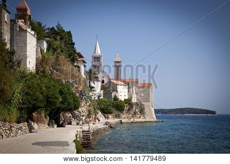 Famous touristic Rab town on Rab island, Croatia, Europe. Rab is a Croatian island in the northern Adriatic Sea.