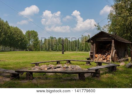 Relaxing outdoors in the forest a campfire