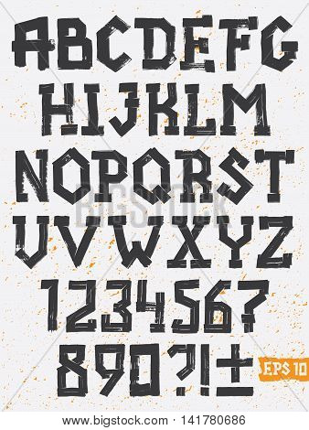 Hand drawing set of grunge letters, Vector alphabet