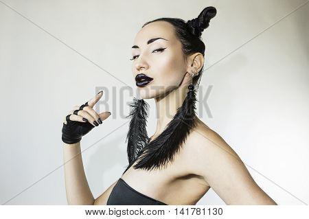 Beautiful Sexy Stylish Woman black-and-white. Cheeky Youth - Club cool Trendy look. Stylish Fashion Accessory Creative Hairstyle and Make-up. Cheerful Girl Beauty face. rock style