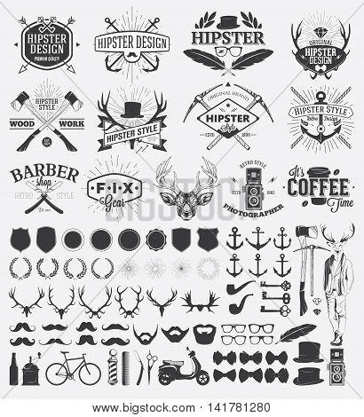 Hipster style design elements and vintage labels