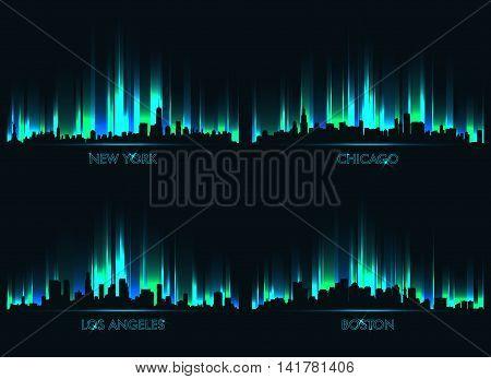 Neon skyline  New York, Boston, Chicago, Los Angeles