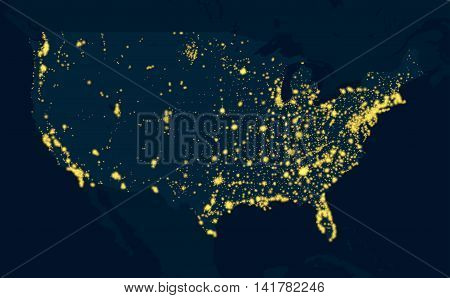 Night Map communications and electricity United States of America