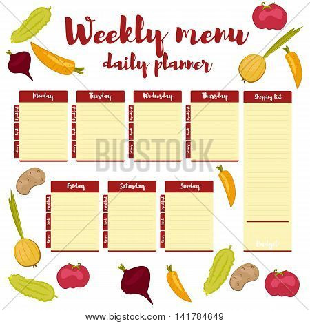 Red colored paper note week healthy eating, daily routine. Breakfast, lunch, dinner. Weekly menu calendar. Template shopping list product and vegetables. Planner Vector.