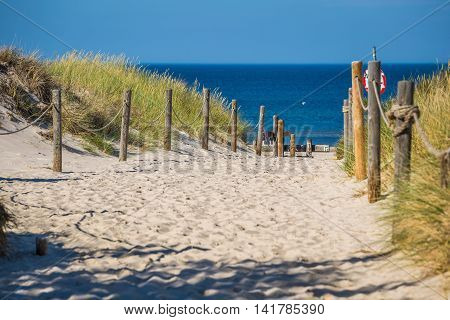 Sandy beach in Leba town Baltic Sea Poland