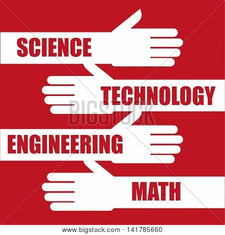 Science, Technology, Engineering and Math the so called STEM education subjects or qualifications added as text on extended arms and hands