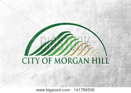 Flag Of Morgan Hill, California, Usa, Painted On Leather Texture