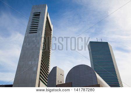 BOSTON,MASSACHUSETTS,USA - JULY 2,2016: Boston Skyline showing Financial District at sunset