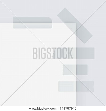 Vector Set of Adhesive Masking Paper Sticky Tape strips Isolated on White Background