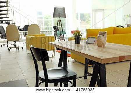 Interior of furniture store