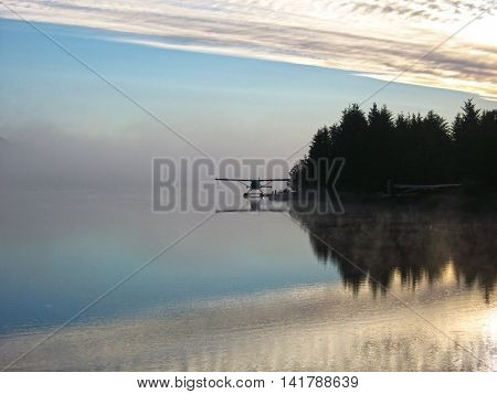 World war two float plane sitting on a calm lake