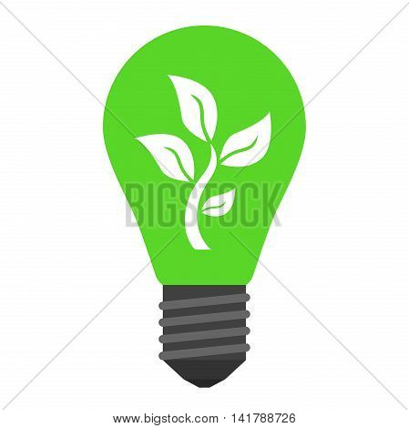 Green light bulb with young plant inside isolated on white. Ecology nature environment discovery idea renewable energy saving and growth concept. Vector illustration. EPS 8 no transparency
