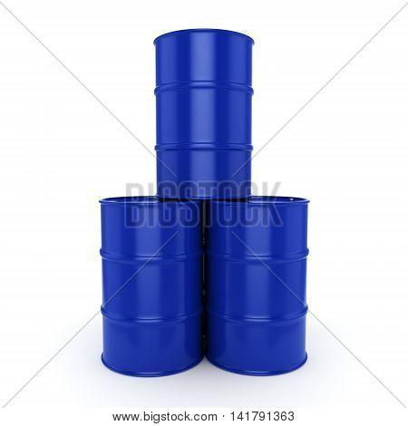 3D Rendering Blue Barrels