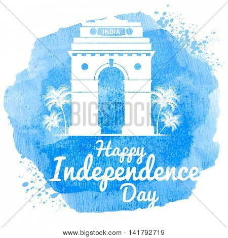 Watercolor design for indian holiday India Independence Day. With India Gate monument, one of symbols of India. Easy for edit and use. Vector illustration.