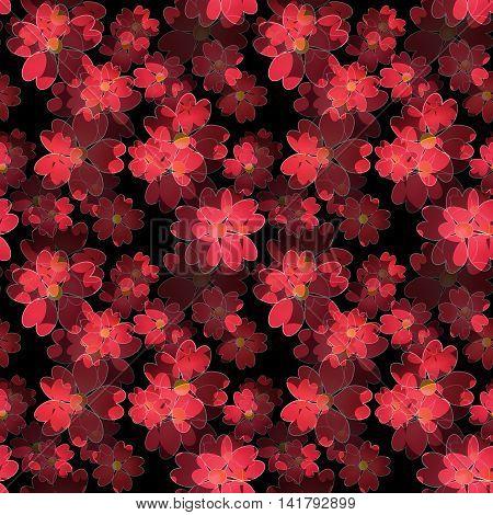 Seamless floral pattern. Wallpaper seamless red flower pattern black background