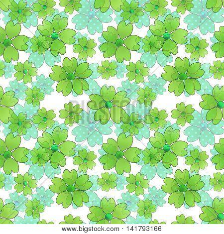 Seamless floral pattern. Wallpaper seamless blue green flower pattern white background