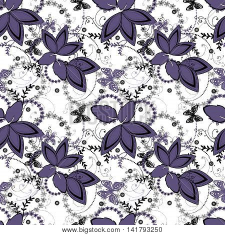 Abstract purple white floral ornament seamless pattern on white background