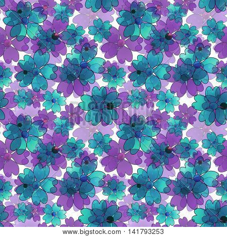 Seamless floral pattern. Wallpaper seamless blue purple flower pattern white background