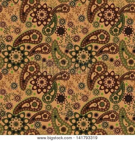 Seamless floral pattern with decorative elements ornament,